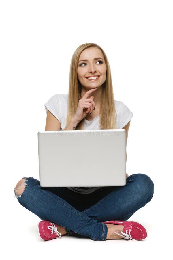 坐与膝上型计算机的沉思妇女 库存图片