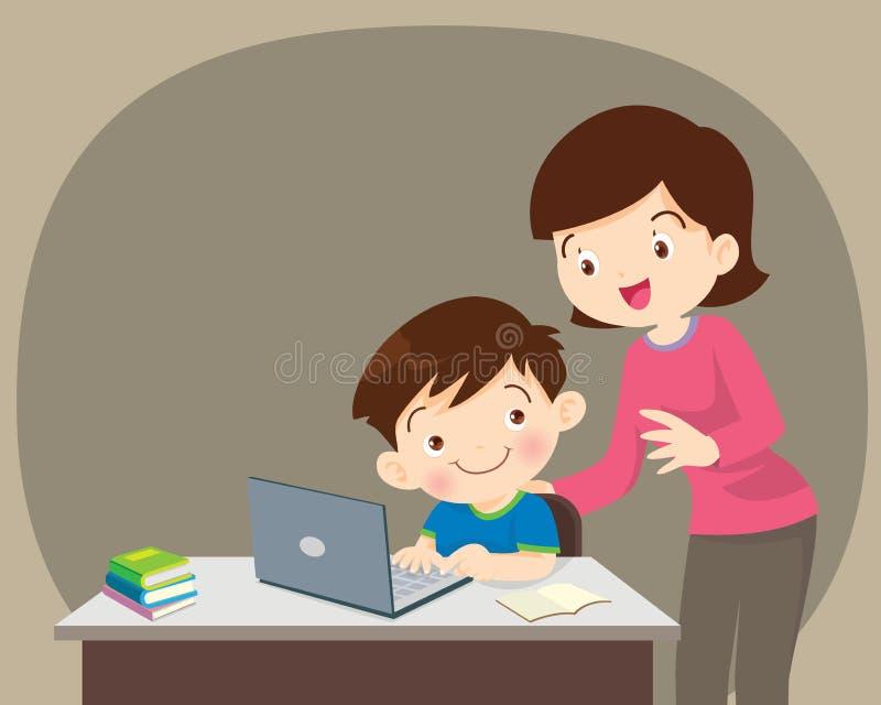 坐与膝上型计算机的男孩和母亲 皇族释放例证