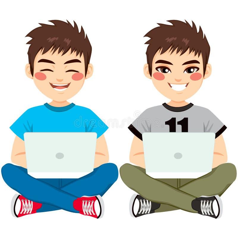 坐与膝上型计算机的男孩 库存例证