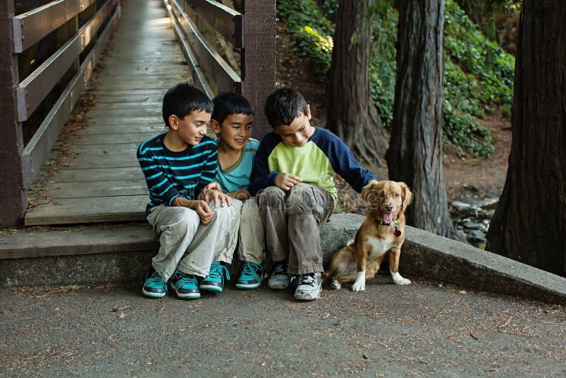 坐与他们的狗一起的兄弟 库存照片