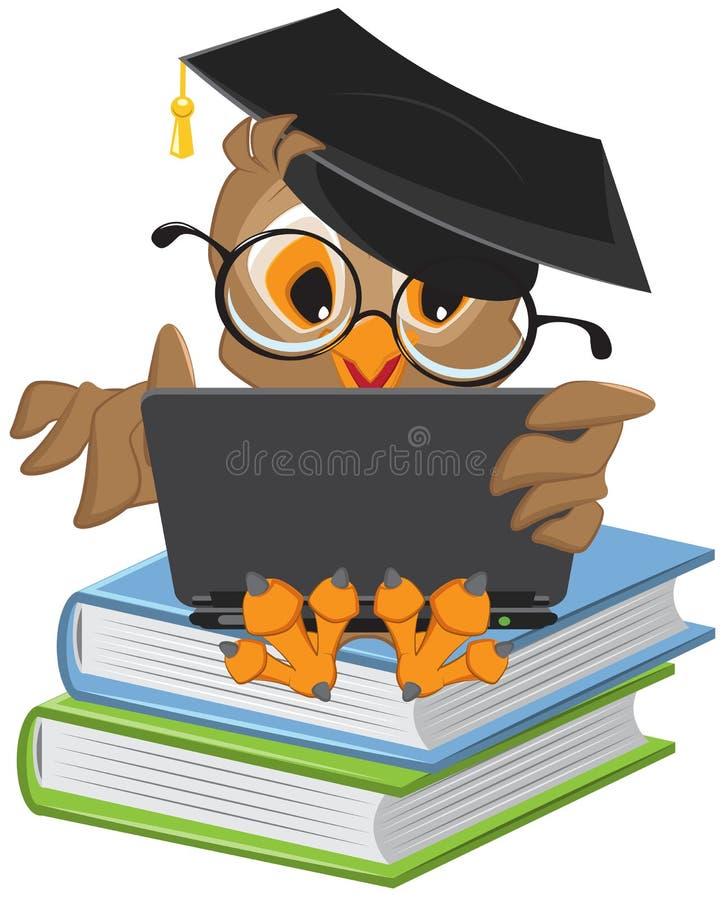 坐书和拿着膝上型计算机的猫头鹰 库存例证