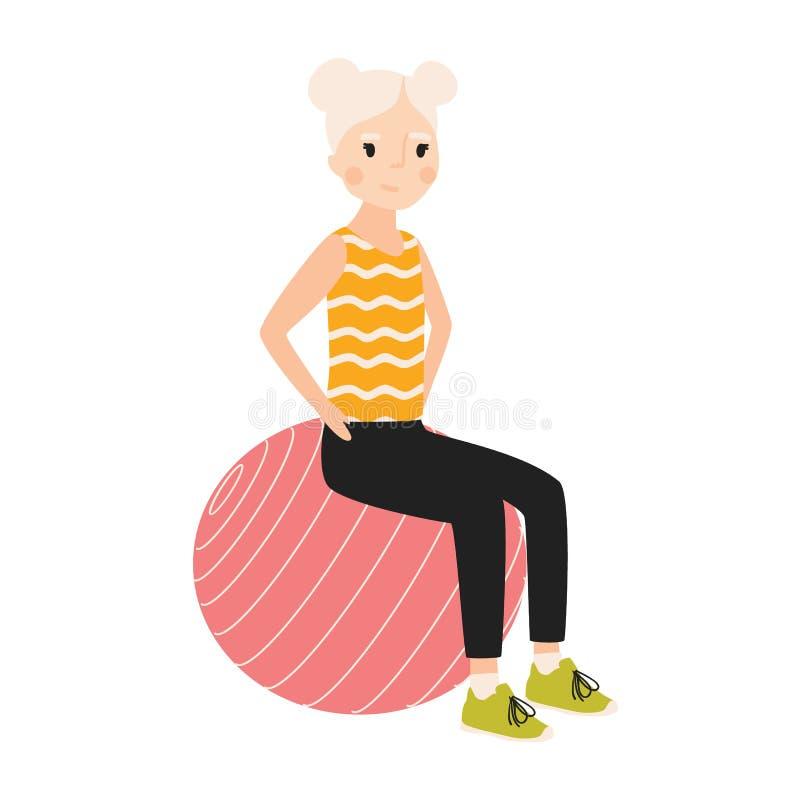 坐体操或平衡球和执行锻炼的愉快的女孩被隔绝在白色背景 炫耀活动 向量例证