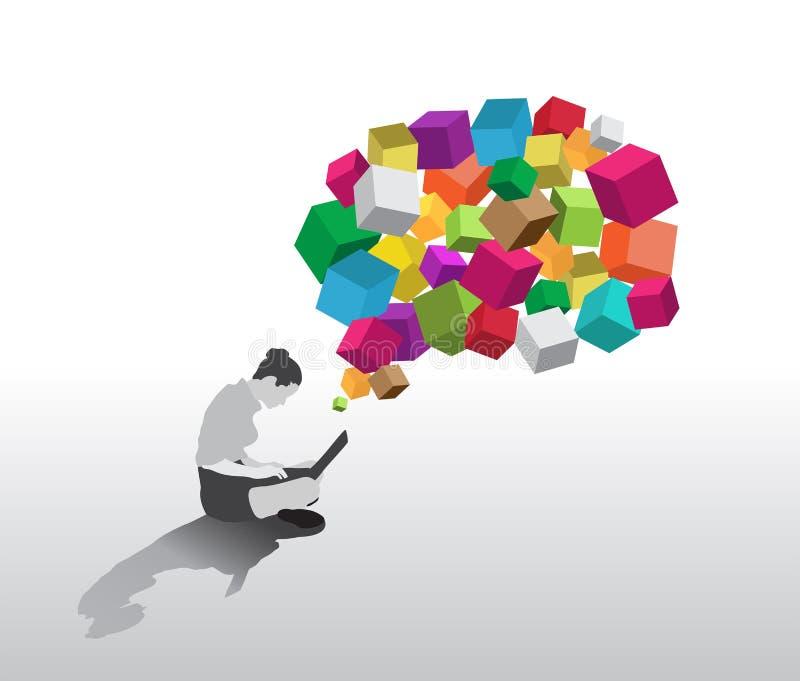 坐使用有图表五颜六色的立方体的膝上型计算机的女实业家 向量例证