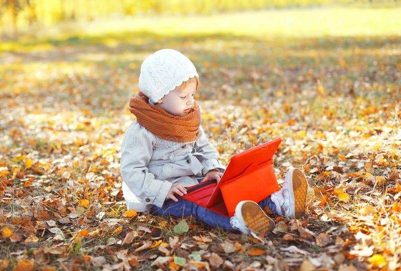 坐使用片剂个人计算机的小孩在秋天 库存图片