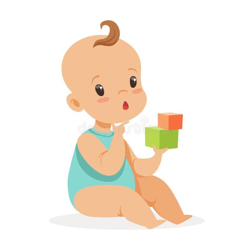 坐和使用与立方体,五颜六色的漫画人物传染媒介例证的甜矮小的婴孩 向量例证