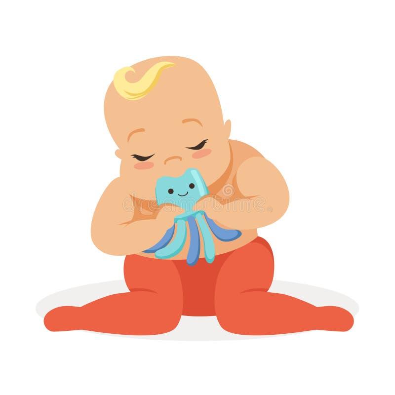 坐和使用与章鱼teether玩具,五颜六色的漫画人物传染媒介例证的可爱的婴孩 库存例证