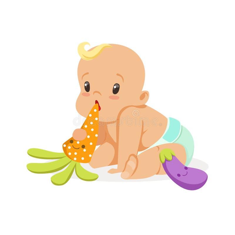 坐和使用与teether的尿布的可爱的婴孩戏弄,五颜六色的漫画人物传染媒介例证 库存例证