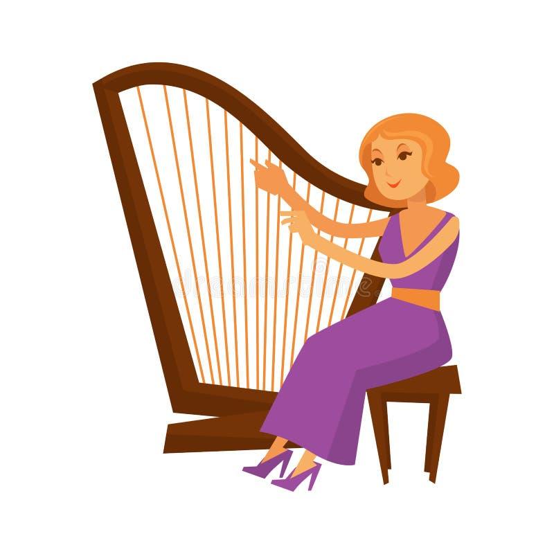 坐和弹奏竖琴仪器的礼服的女性音乐家 皇族释放例证