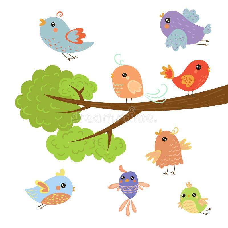 坐和飞行在树枝附近的不同的逗人喜爱的小鸟 库存例证
