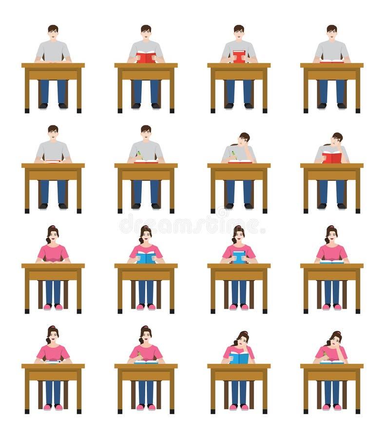 坐和读书的学生的集合例证 免版税库存图片
