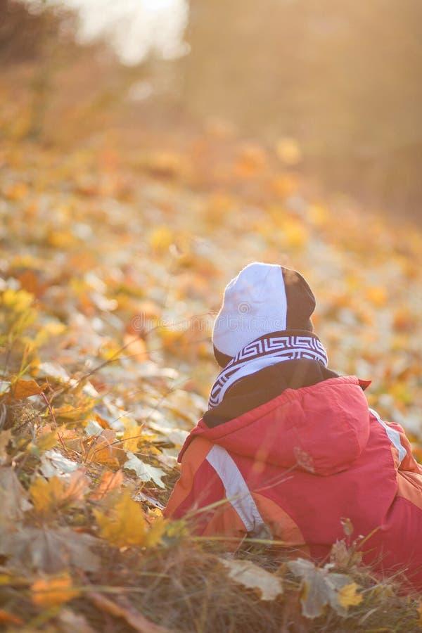 坐和waithing黄色叶子的孩子在秋天公园 免版税图库摄影