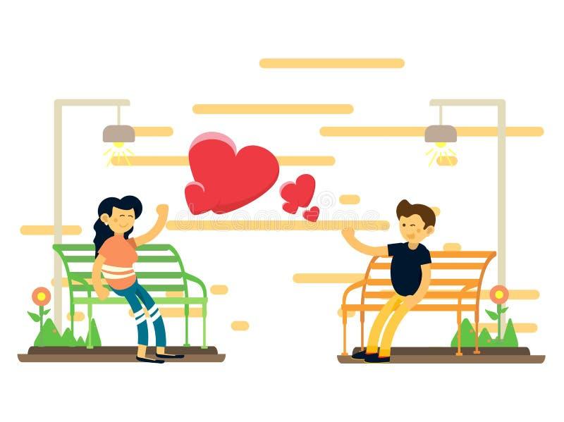 坐在一把庭院椅子的夫妇的例证有白色背景 免版税库存照片