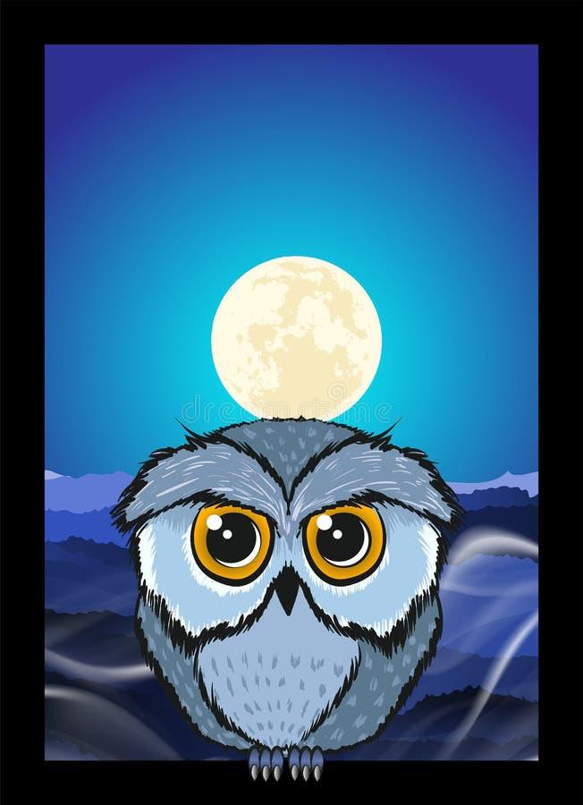 坐在与一大月亮上升的一个树枝的猫头鹰 向量例证