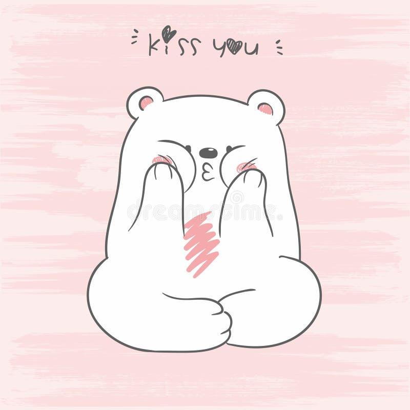 坐在与亲吻您的letering的莲花坐的逗人喜爱的白色北极熊的传染媒介图片