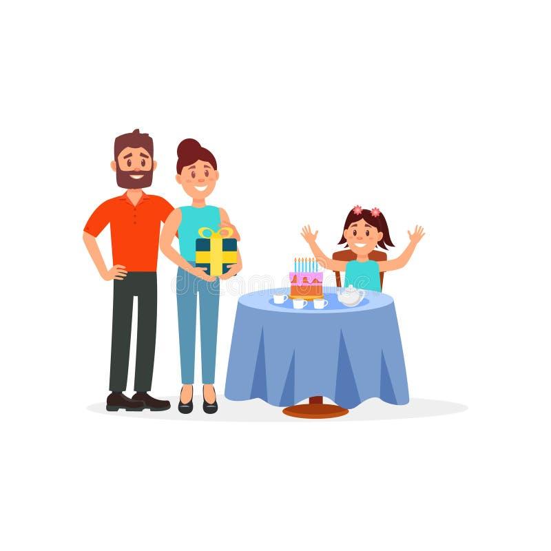 坐在与她的生日蛋糕的桌后的快乐的女孩 站立近与礼物的父母 平的传染媒介例证 皇族释放例证