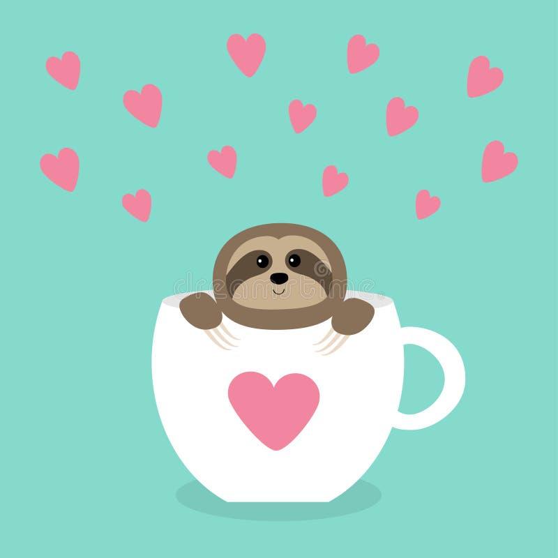 坐在与心脏的咖啡杯茶杯的怠惰 艺术美丽的创造性的装饰睫毛注视表面方式现有量构成 逗人喜爱的漫画人物 狂放的密林动物收藏 减速 B 皇族释放例证