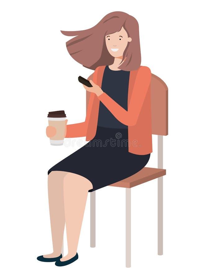 坐在与智能手机的学校椅子的妇女 向量例证