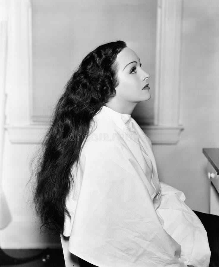 坐在与非常长的头发的一个发廊的一个少妇的档案(所有的人被描述不是更长生存和前没有的庄园 库存图片