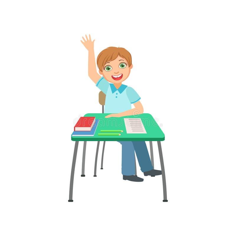 坐在举手的学校课程的书桌后的男小学生回答例证,学习传染媒介的一部分的学者 皇族释放例证