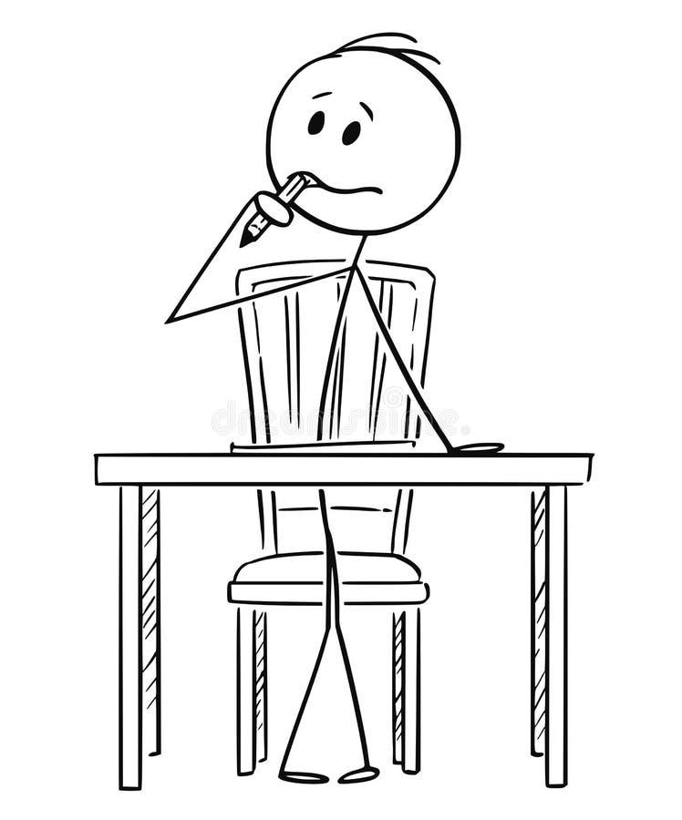 坐在书桌后和认为与在嘴的铅笔的人动画片 向量例证
