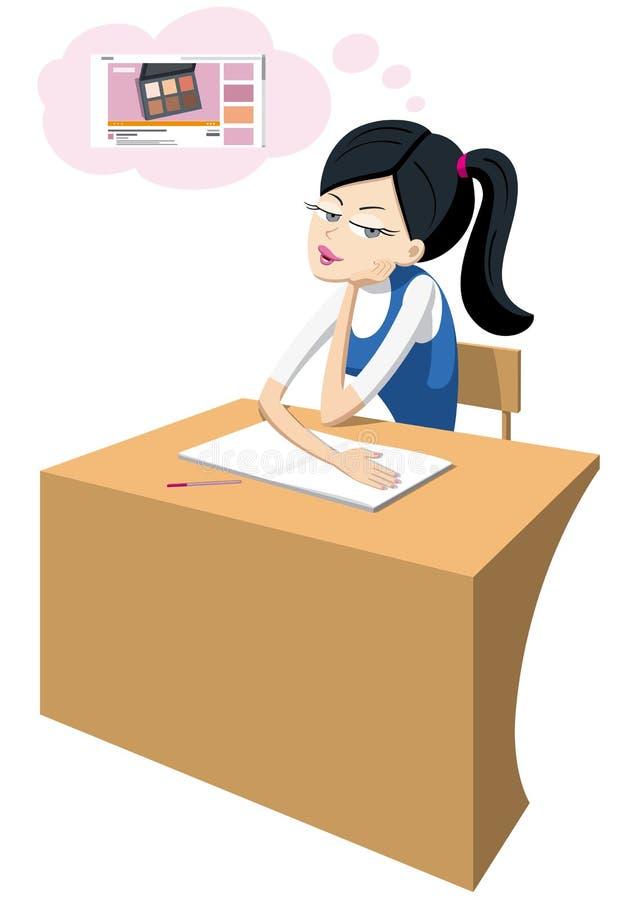 坐在书桌和作梦的青少年的逗人喜爱的女孩 皇族释放例证