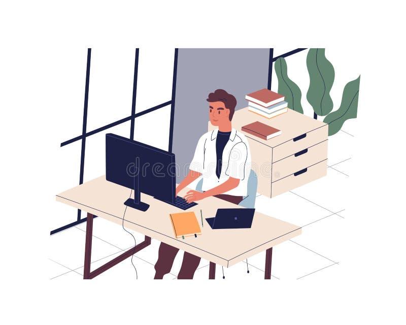 坐在书桌和研究计算机的微笑的人在现代办公室 男性雇员或干事在工作场所 每日惯例 皇族释放例证