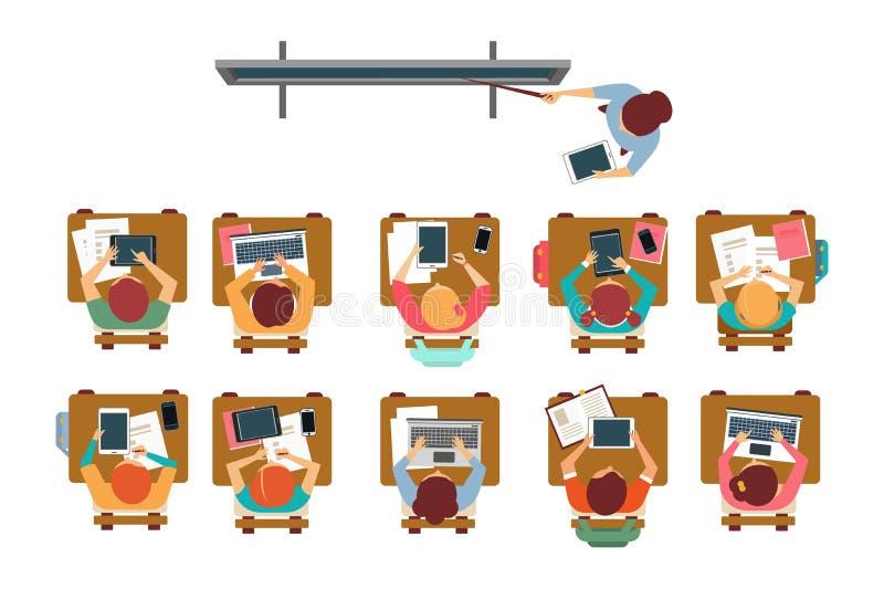 坐在书桌在教室,老师身分和指向黑板顶视图传染媒介例证的孩子 库存例证