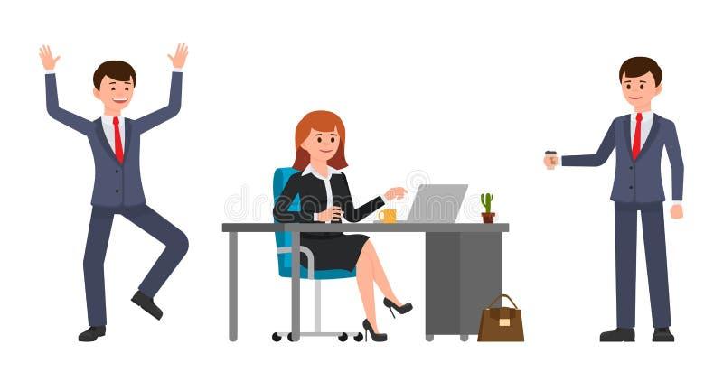 坐在书桌的少妇,使用膝上型计算机 拿着咖啡的年轻人,愉快地笑 向量例证