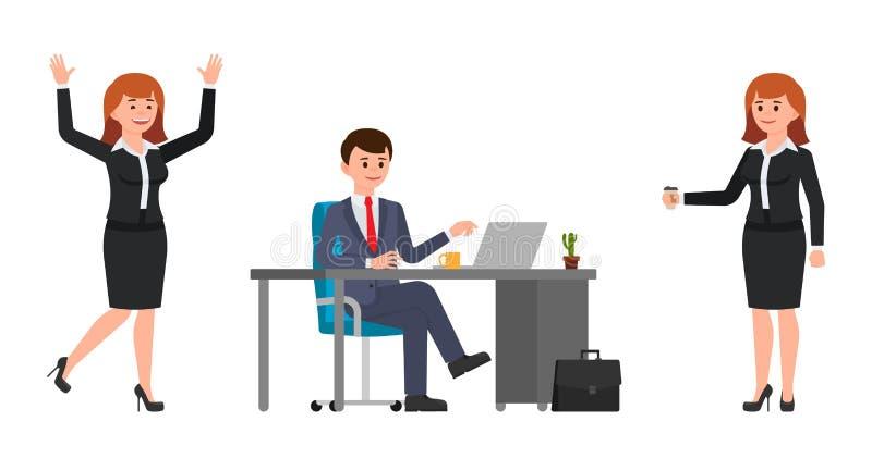 坐在书桌的年轻人,使用膝上型计算机 拿着咖啡的少妇,愉快地笑 动画片characte的传染媒介例证 向量例证