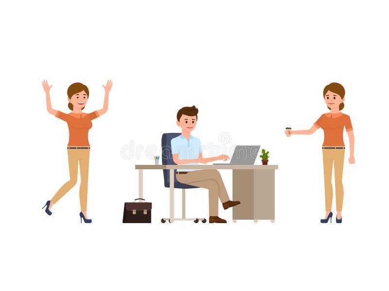 坐在书桌的年轻人,使用膝上型计算机 拿着咖啡的少妇,愉快地笑 漫画人物偶然神色 向量例证