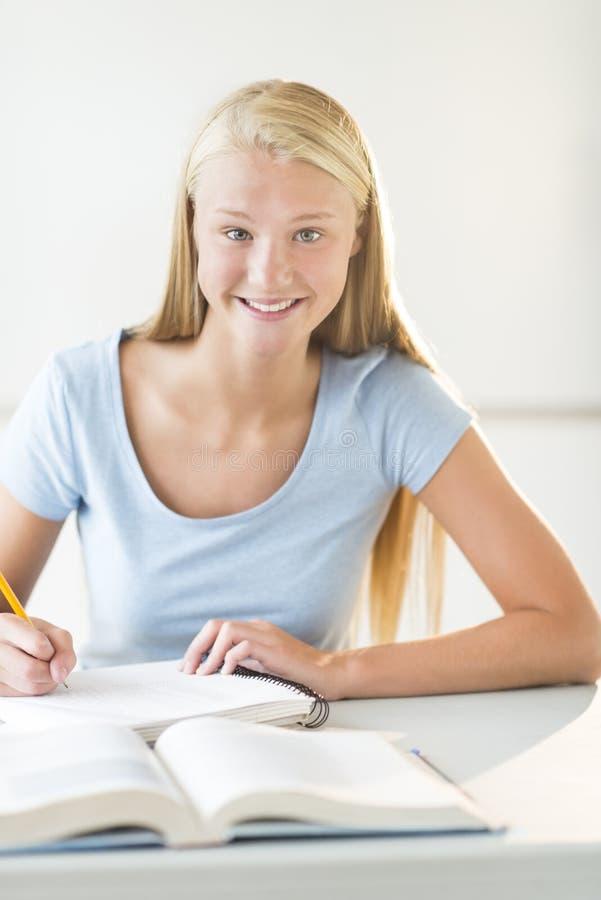 坐在书桌的愉快的少年学生在教室 免版税库存图片
