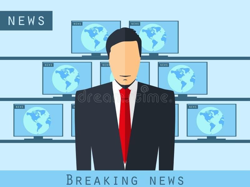 坐在书桌的现场报道员 最新新闻,演播室记者 现场报道员广播新闻 新闻宣布者 向量例证