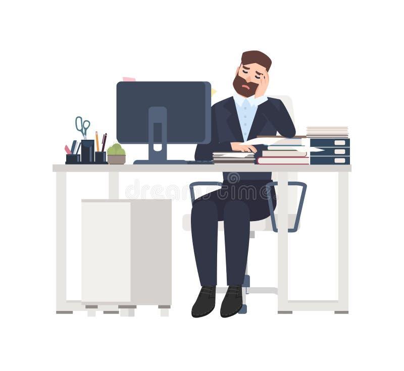 坐在书桌的男性专业工作者或干事完全地盖用文件 工作在的疲乏或被用尽的人 库存例证