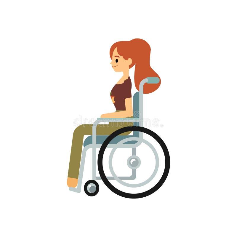 坐在侧视图平的动画片样式的轮椅的微笑的有残障的妇女 库存例证