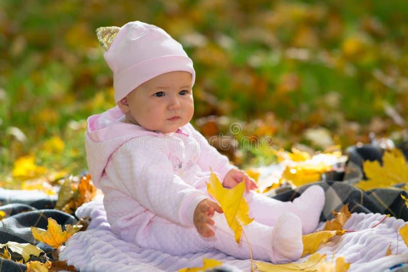 坐在公园场面的黄色秋天叶子的婴孩 免版税库存图片
