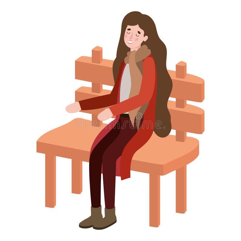 坐在公园椅上的具有秋装角色的妇女 向量例证