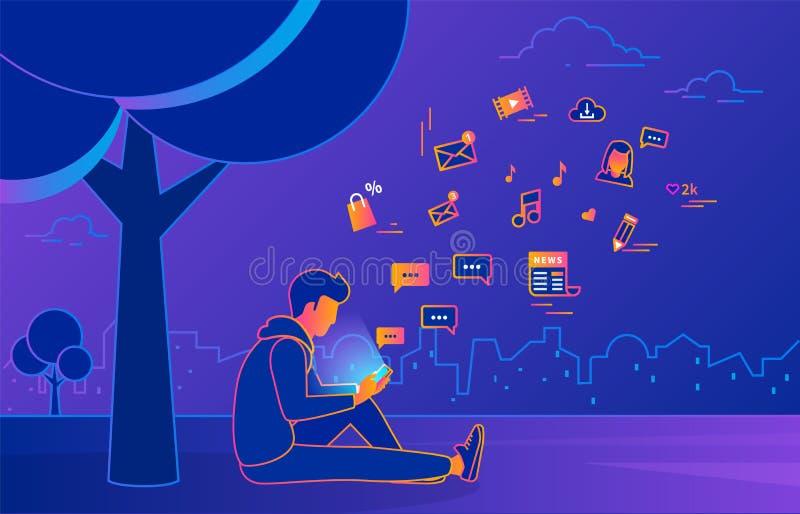 坐在公园的年轻人在树和短信的消息下 库存例证