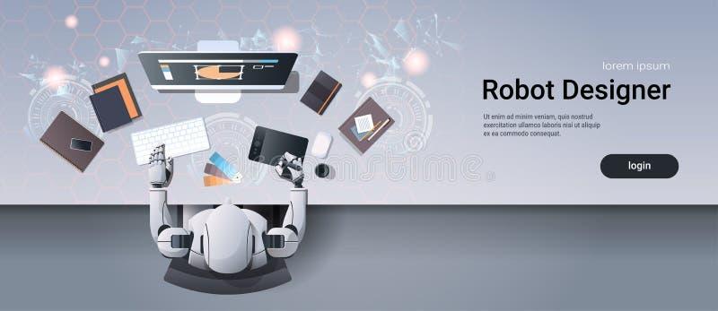 坐在创造性的设计演播室工作场所书桌办公室材料运作的过程油罐顶部角钢视图的机器人图表设计师 库存例证