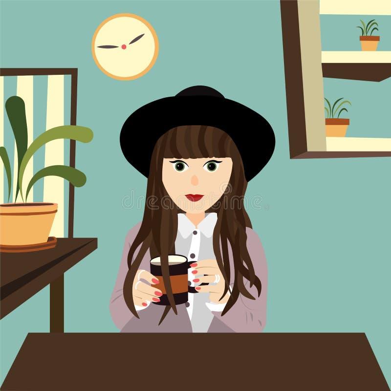 坐在办公室的企业女孩用咖啡 库存例证