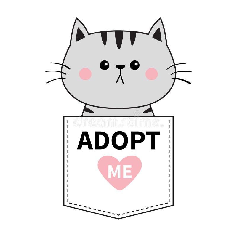 坐在口袋的灰色猫 采取我 桃红色重点 逗人喜爱动物的动画片 小猫全部赌注字符 破折号线 宠物collecti 皇族释放例证
