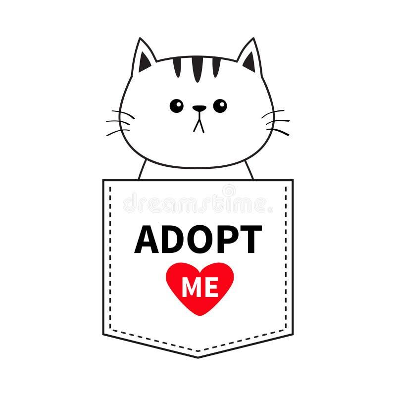 坐在口袋的猫 采取我 红色重点 逗人喜爱动物的动画片 小猫全部赌注字符 破折号线 宠物汇集 T- 皇族释放例证
