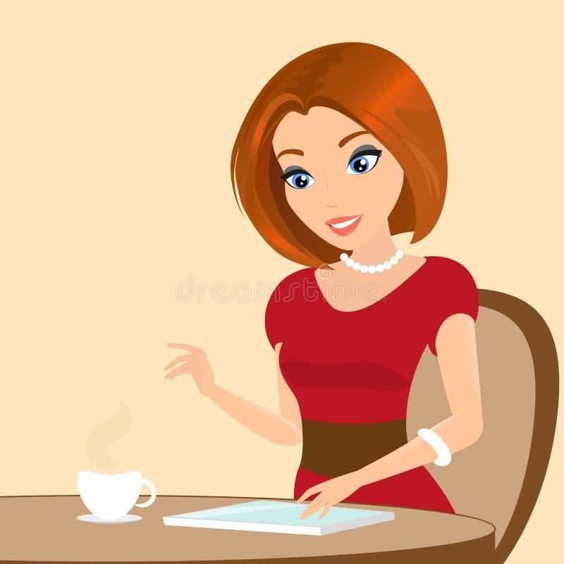 坐在咖啡馆和使用片剂个人计算机的年轻俏丽的妇女。特写镜头例证 向量例证