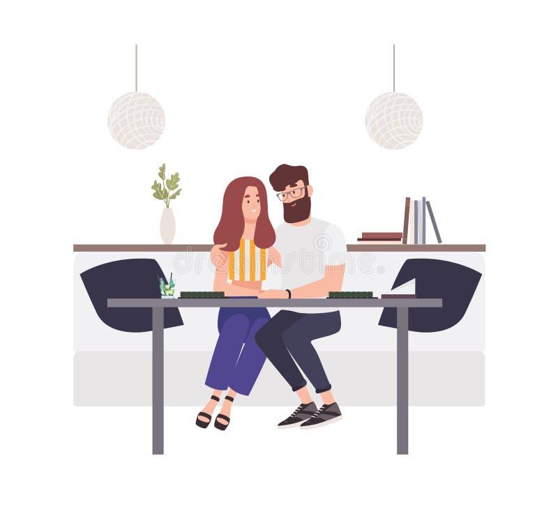 坐在咖啡馆桌上和拥抱的可爱的夫妇 愉快的男朋友和女朋友 年轻人和妇女 库存例证