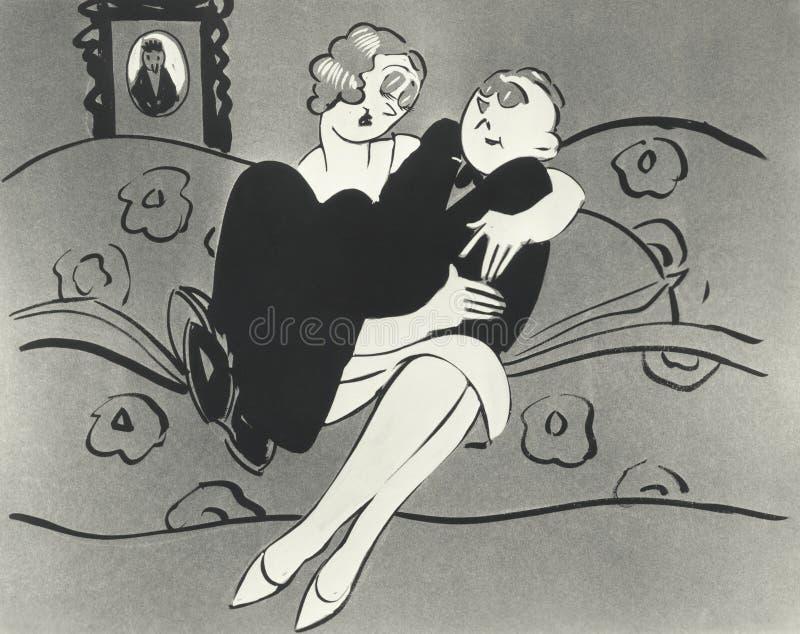 坐在妇女膝部的人的例证 向量例证