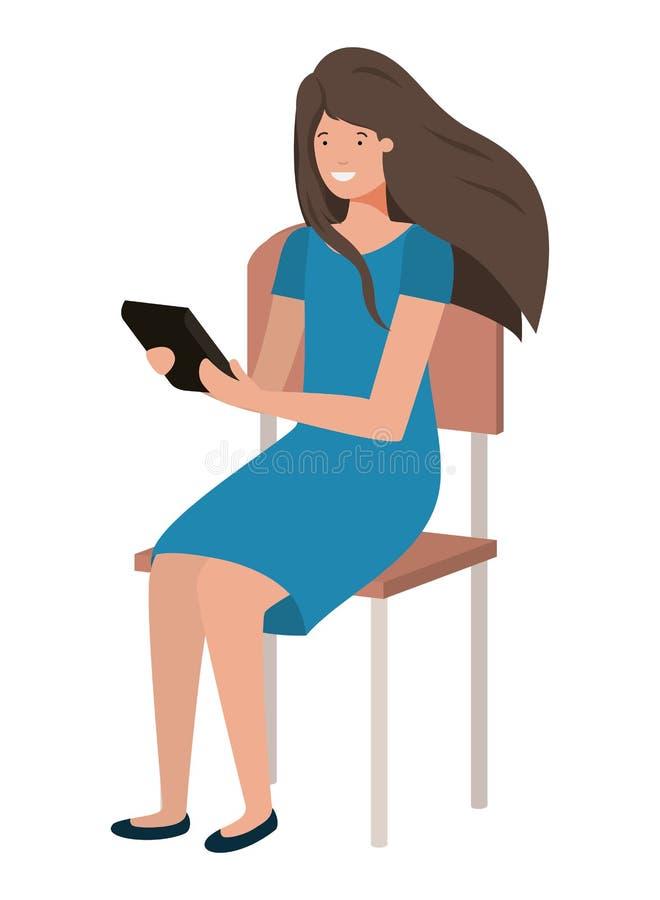 坐在学校椅子的妇女使用片剂 库存例证