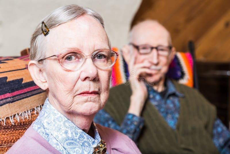 坐在客厅的年长夫妇 库存图片