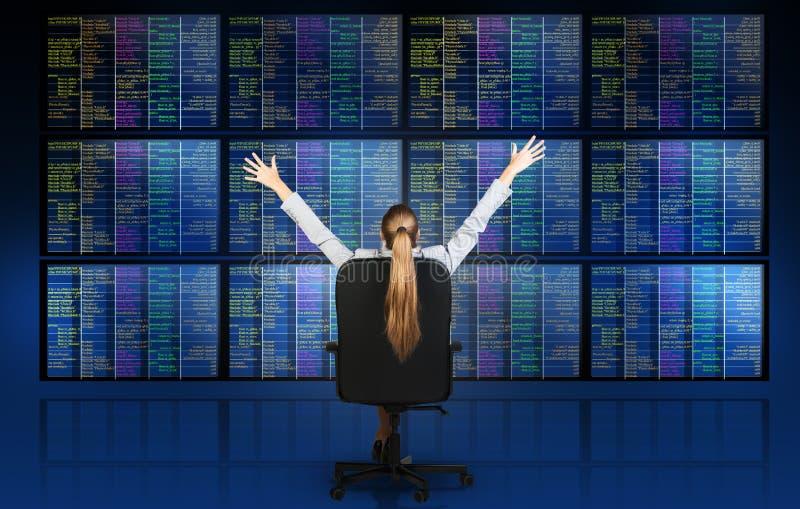坐在屏幕前面的女实业家 免版税库存照片