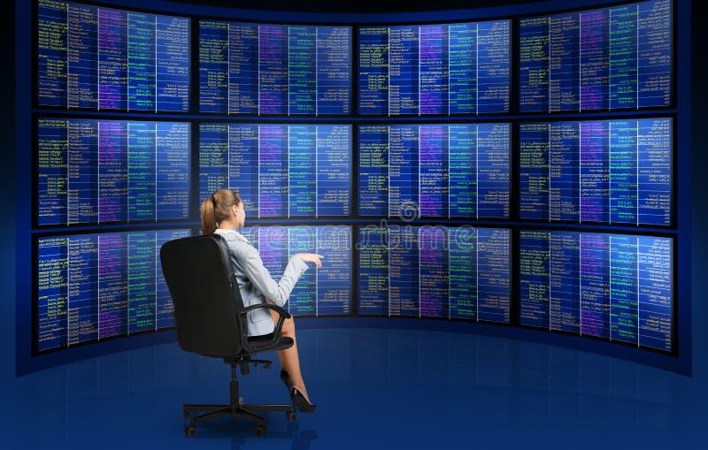 坐在屏幕前面的女实业家 免版税图库摄影