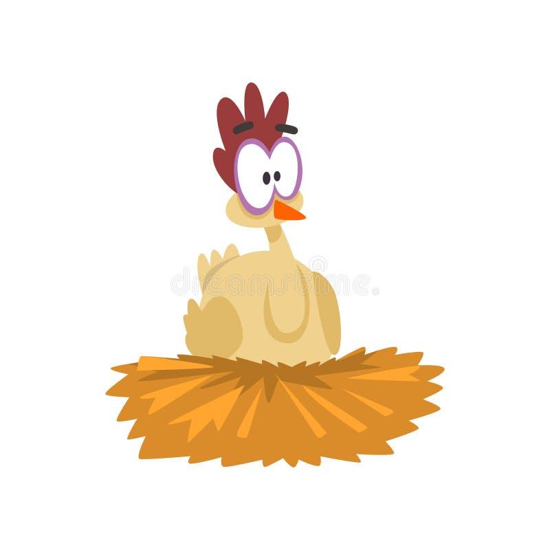 坐在巢的滑稽的母鸡,与大眼睛的可笑的动画片鸡鸟字符导航在白色的例证 库存例证
