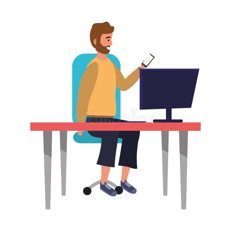 坐在工作书桌的Millenial人时髦的成套装备 向量例证